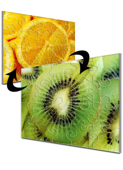 8x10 Swirl-Cut with 20 Pieces Custom 2-Sided Acrylic Puzzle