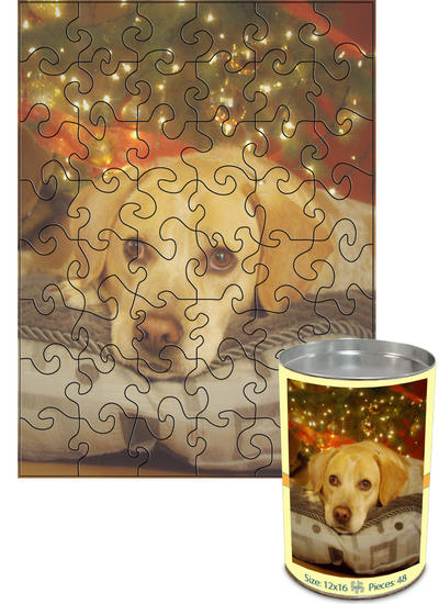 12x16 Swirl-Cut with 48 Pieces Custom Puzzle