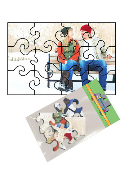 4x6 Swirl-Cut with 12 Pieces Custom Puzzle