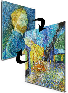 12x16 Swirl-Cut with 48 Pieces Custom 2-Sided Acrylic Puzzle